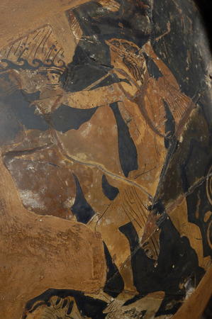aegean: painting of a warrior on a piece of ancient Greek vase, original