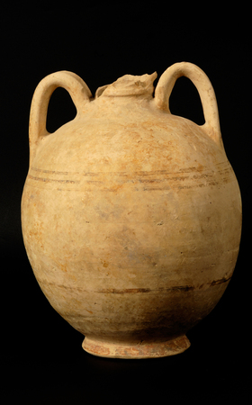 single object: Classical Greek, Greece, Greek Culture, Vase, Amphora, Ancient, Old-fashioned, Brown, White, Yellow, Old, Cultures, Decoration, Museum, Design, Paint, Jug, Decor, Classic, Creativity, History, Beautiful, Pitcher, Single Object, Handle, Antique, Ceramics,