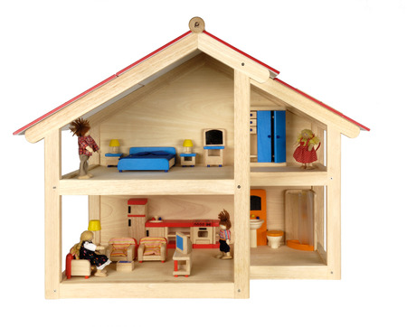 Child's doll house with furniture,isolated Archivio Fotografico
