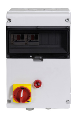 control box: isolated on white, electric control box Stock Photo