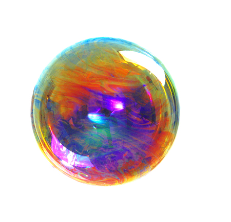 evening ball: a soap bubble with many colors, colors contrast, color image Stock Photo