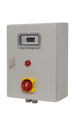 control box: electric control box and volt gauge panel Stock Photo