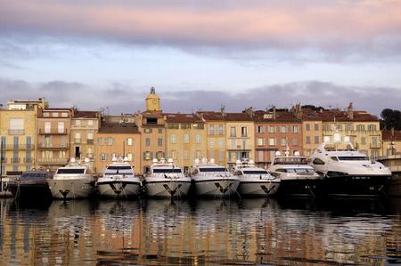 tropez: Harbor in Saint Tropez, French Riviera, France Stock Photo