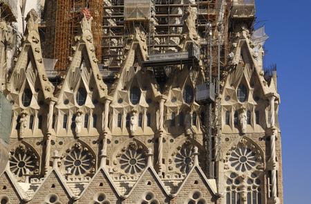 barcelona spain: Detail of Sagrada Familia Barcelona, Spain Editorial