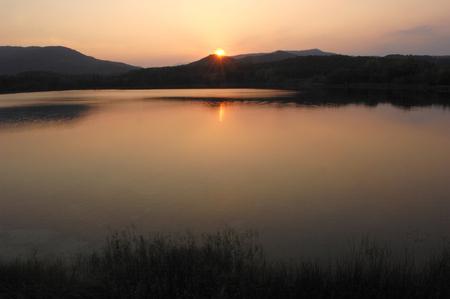 mountin: at sunset on Lake Banyoles, Girona, Catalonia,Spain