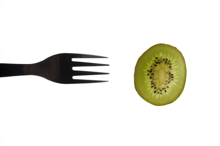 sectioned: various sectioned and white fruit,kiwi Stock Photo