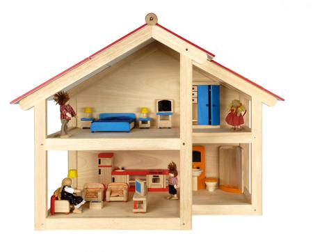 Child's poppenhuis met meubels, geïsoleerde