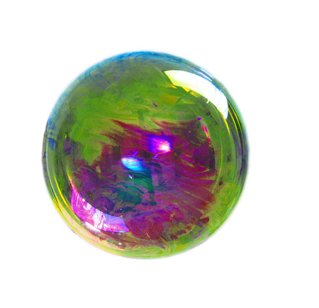evening ball: a soap bubble with many colors Stock Photo