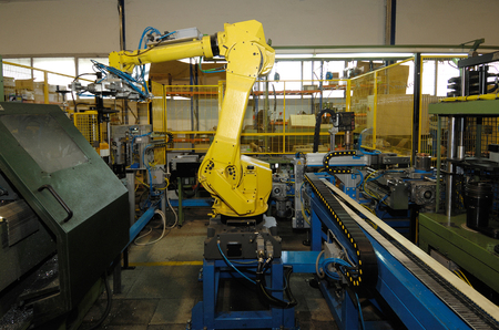 color image: robot working in the metal industry, color image,