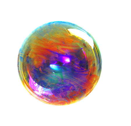 a soap bubble with many colors, colors contrast, color image Imagens