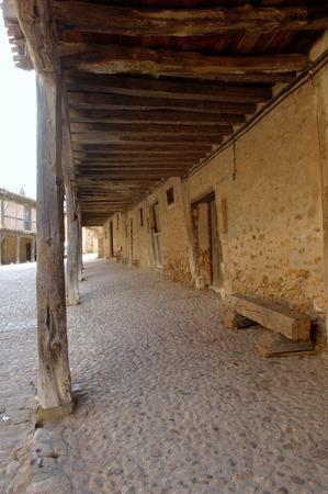 province: street arcades in Calatañazor, Soria Province, Spain Stock Photo