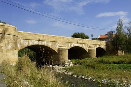 rioja: Medieval bridge of Casalareina, La Rioja, Spain, Stock Photo