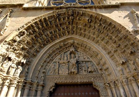 navarra: Door, Santa Maria la Real, Olite, Navarra, Spain Stock Photo