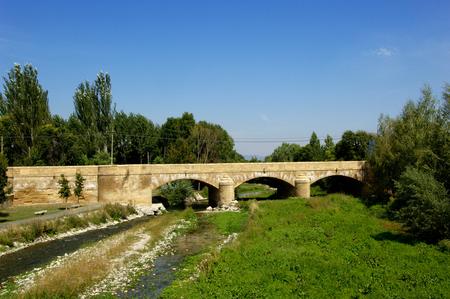 rioja: Medieval bridge of Casalareina, La Rioja Stock Photo