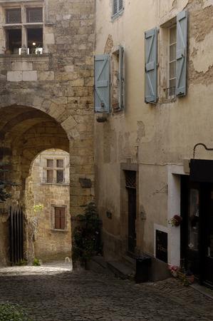 sur: Street of Cordes Sur Ciel, Tarn , France Stock Photo