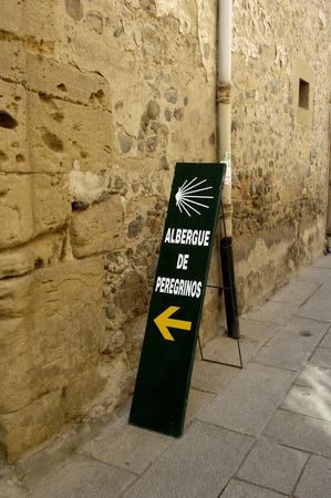 domingo: hostel sign on the road to Santiago, Santo Domingo de la Calzada, La Rioja