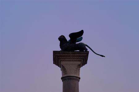 venice italy: silhouette Lion in Venice,Italy, Stock Photo