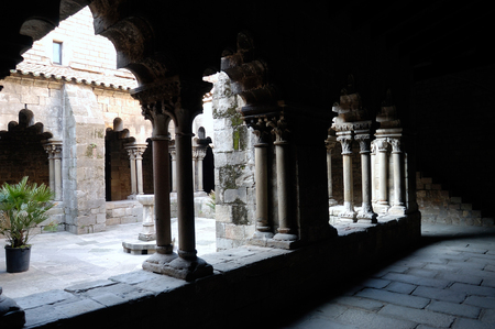 cloister: Romanesque cloister of the Church of Sant Pau del Camp in Barcelona, Catalonia, Spain Stock Photo