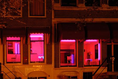 luz roja: Barrio rojo de Amsterdam Foto de archivo