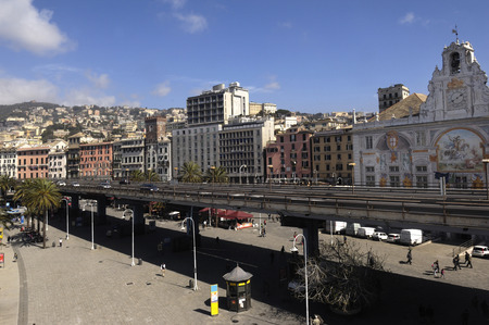 seaboard: elevated road in the center of Genoa, Italy (seaboard) Stock Photo