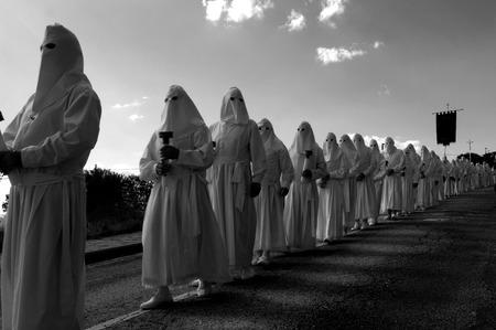 zamora: Procesion del Viernes Santo, ( Good Friday Procession ),Bercianos de Aliste, Zamora province, Spain Stock Photo