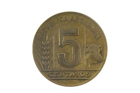 numismatist: five centavos 1945, olf coin of Argentina