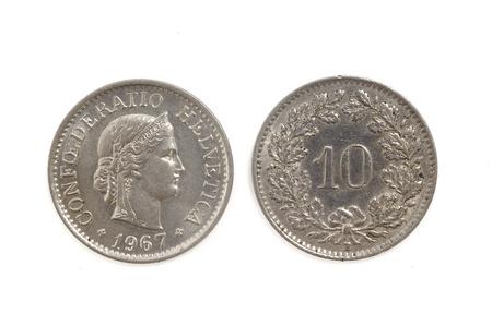 helvetica: 10 Switzerland Helvetica Coin Stock Photo