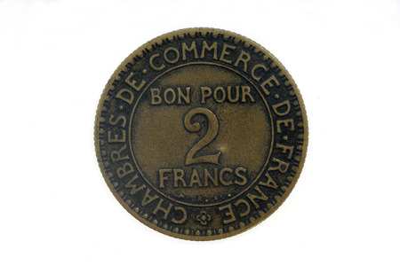 franc: two franc, 1921; france coin
