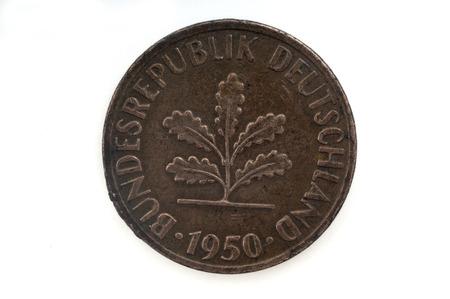 deutschemarks: Old Coin dated 1950, One Pfennig, German coin