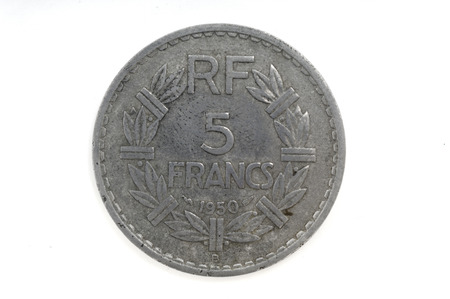alluminum: A French coin, 5 francs, from 1950. Stock Photo