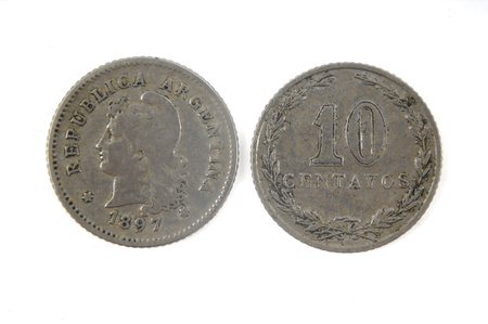 numismatist: Old currency Argentina 10 centavos,1897 Stock Photo