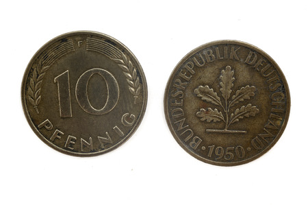 deutschemarks: Old Coin dated 1950, ten Pfennig, German coin