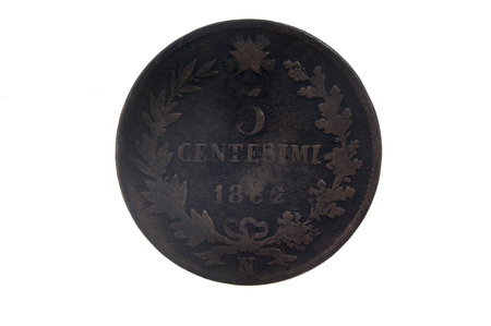 cents: 5 cents, 1862 Italian currency