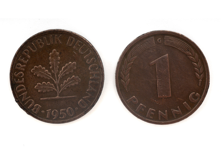 deutschemarks: Old Coin dated 1950, One Pfennig, German coin