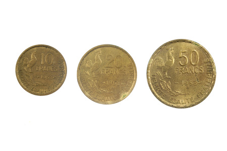 twentieth: French currency of the twentieth century 10, 30 and 50 francs, 1953