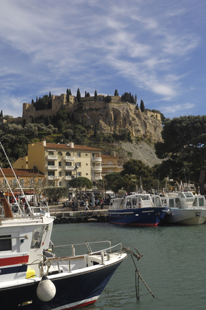 french riviera: Port anf Castle, Cassis French Riviera,France Stock Photo