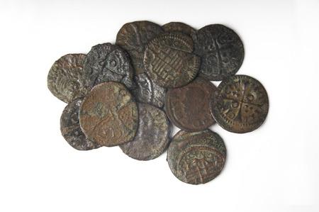 seventeenth: Lot of coins, money seventeenth century Barcelona, Spain Stock Photo