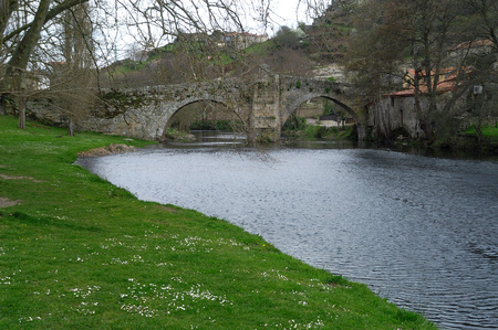 galicia: River and medieval bridge, Allariz, Orense, Galicia,Spain