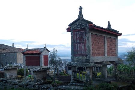galicia: Barn (Horreos), Santa Mariña de Augas Santas., Santa Marina de Augas Santas , Allariz, Orense,Galicia, Spain