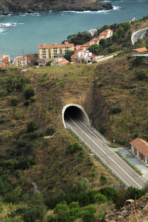 tunnel view: Aerial view tunnel of  Portbou in Girona, Costa Brava, Spain Stock Photo