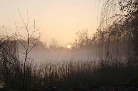 province: Sunrise on Lake Banyoles, Girona province, Spain