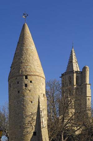 midi: tower and Notredame des Miracle, Avignonet-Lauragais, Midi Pyrenees, France