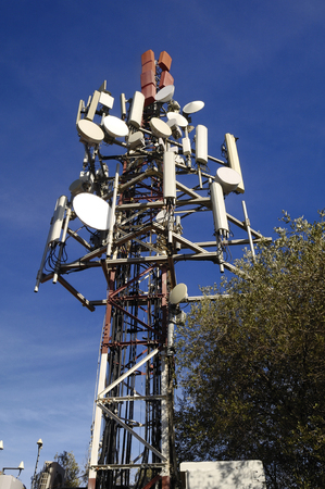 high frequency: telecommunications tower on sky Stock Photo