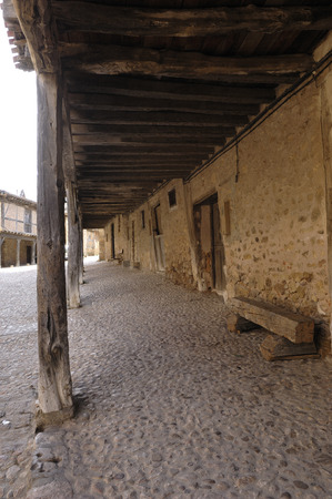 arcades: arcades in the medieval village of Calata�azor, Soria province, Casitlla y Le�n, Spain