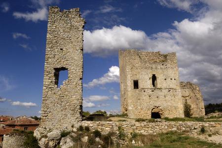 goshawk: Castle of Calata�? ? goshawk, Soria Province, Castile and León, Spain Stock Photo