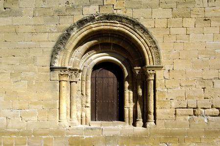 rioja: Romanesque door of San Salvador Church in Tirgo, La Rioja,Spain