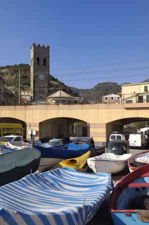 ''cinque terre'': Boats and Church Monterosso al Mare, Cinque Terre, Italy
