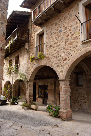 els: Square of Els Valls, Santa Pau, Girona province,Spain