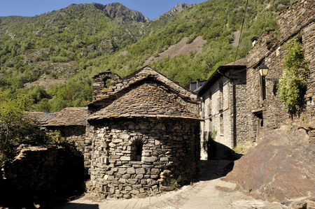 moutains: Sant Roma church in the village of Ainato,Pallars Sobira, Pyrenees moutains,Lleida,Spain