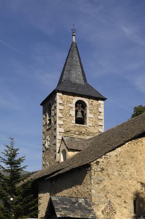 aran: Church of Montcorbau, Aran Valley, Lleida province, pyrenees mountain, Spain Stock Photo